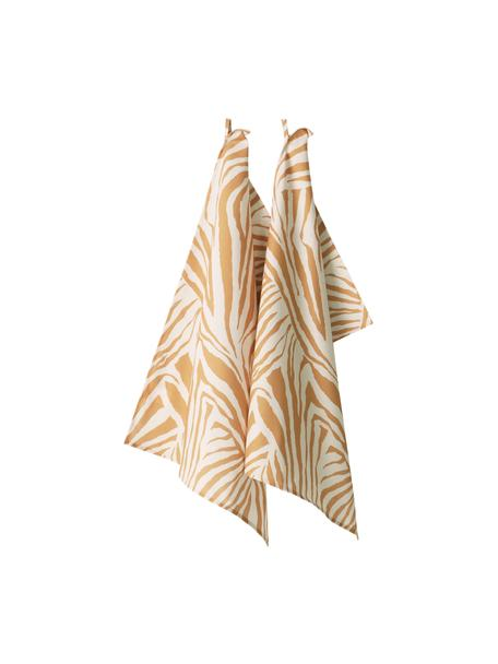 Theedoeken Zadie van katoen met zebrapatroon, 2 stuks, 100% katoen, Mosterdgeel, crèmewit, 50 x 70 cm