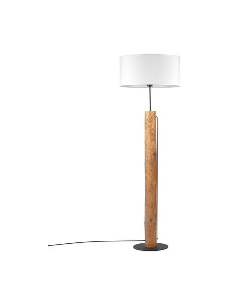 Vloerlamp Pino met houten voet, Lampenkap: stof, Lampvoet: grenenhout, gebeitst, Bruin, wit, Ø 50 x H 161 cm
