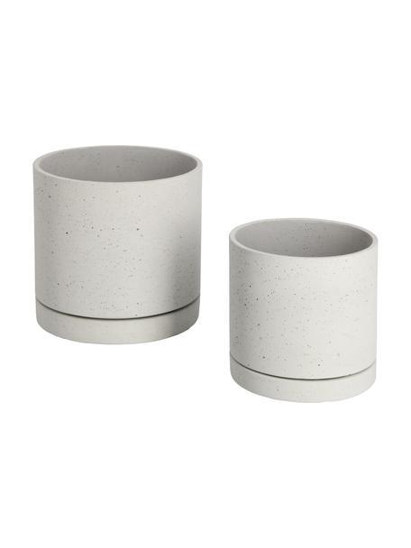 Set 2 portavasi in cemento Kawanti, Cemento, Grigio chiaro, Set in varie misure