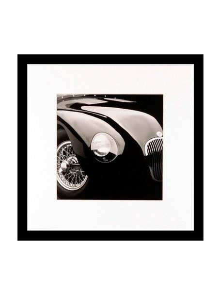 Gerahmter Digitaldruck Oldtimer II, Bild: Digitaldruck, Rahmen: Kunststoff, Front: Glas, Bild: Schwarz, Weiss Rahmen: Schwarz, 30 x 30 cm