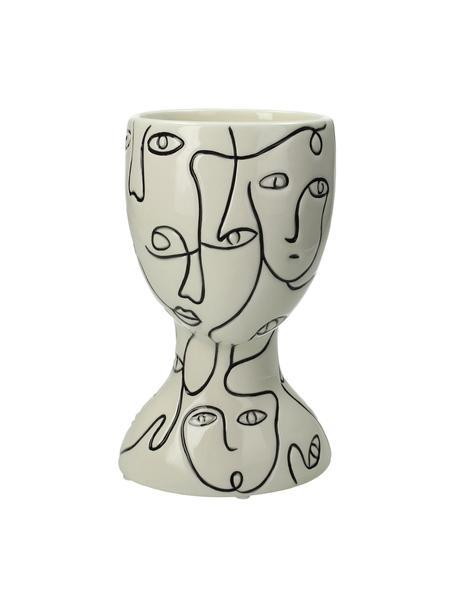 Osłonka na doniczkę z kamionki Faces, Kamionka, Złamana biel, czarny, S 12 x W 20 cm