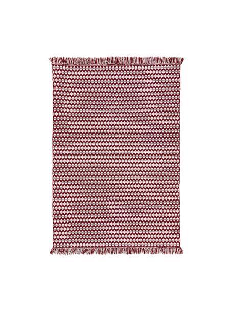 In- & outdoor vloerkleed Morty met ethnopatroon en franjes, 100% polyester (gerecycled PET), Rood, gebroken wit, B 80 x L 150 cm (maat XS)