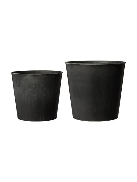 Komplet doniczek Yrsa, 2 elem., Tworzywo sztuczne, Czarny, Komplet z różnymi rozmiarami