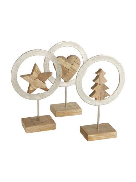 Deko-Figuren Cyresta aus Holz H 27 cm, 3 Stück, Sockel: Holz, Braun, Silberfarben, 17 x 27 cm