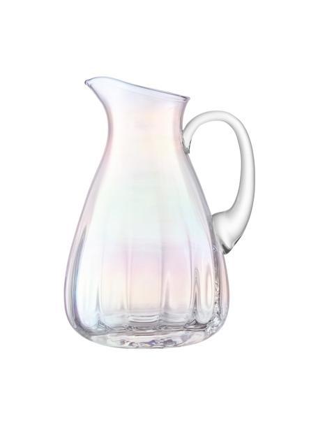 Mondgeblazen karaf Pearl met een glinsterende parelmoer glans, 2,2 L, Glas, Parelglans, H 25 cm