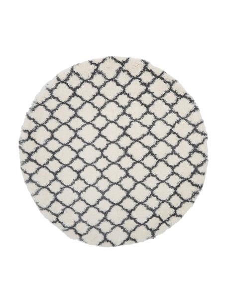 Rond hoogpolig vloerkleed Mona in crèmekleur/donkergrijs, Bovenzijde: 100% polypropyleen, Onderzijde: 78% jute, 14% katoen, 8% , Crèmewit, donkergrijs, Ø 150 cm (maat M)