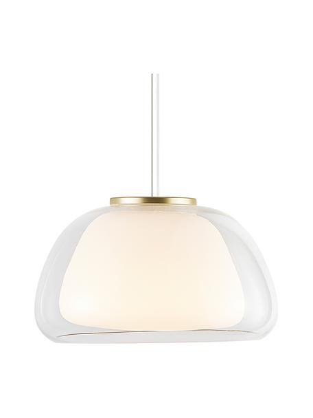 Lampada a sospensione in vetro Jelly, Paralume: vetro, Decorazione: metallo, Trasparente, bianco, Ø 39 x Alt. 23 cm