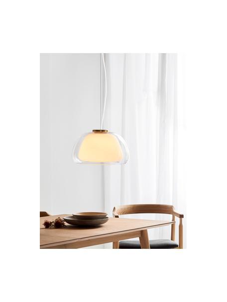 Pendelleuchte Jelly aus Glas, Lampenschirm: Glas, Dekor: Metall, Transparent, Weiss, Ø 39 x H 23 cm