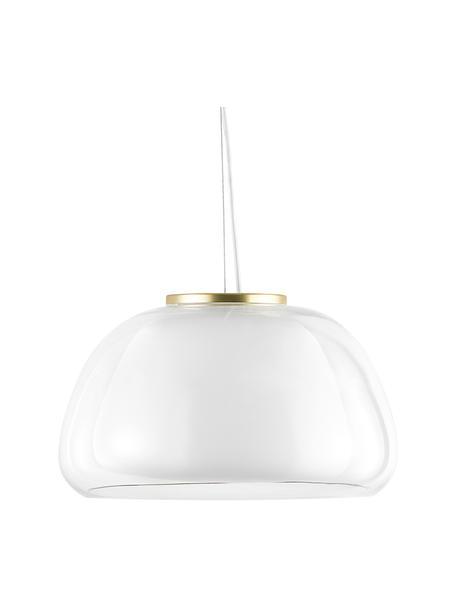 Hanglamp Jelly van glas, Lampenkap: glas, Diffuser: glas, Decoratie: metaal, Transparant, wit, Ø 39 x H 23 cm