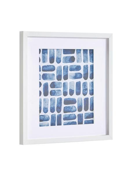 Gerahmter Digitaldruck Kuma, Rahmen: Mitteldichte Holzfaserpla, Bild: Papier, Front: Glas, Weiß, Blau, 40 x 40 cm