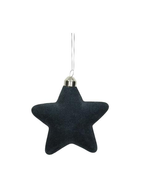 Baumanhänger Star Ø 10 cm, 4 Stück, Dunkelblau, 10 x 10 cm