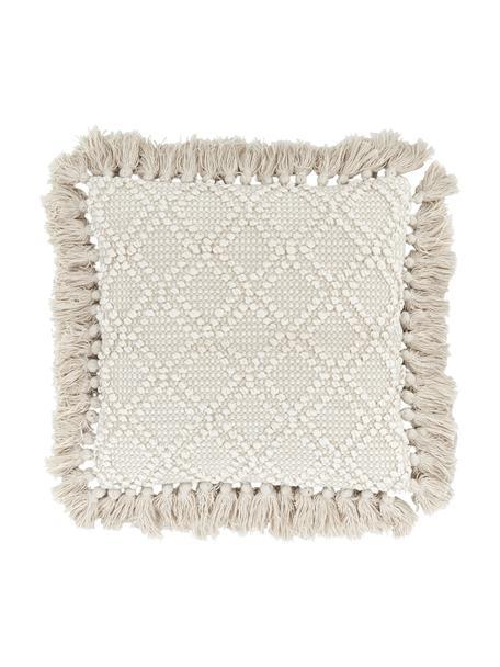 Kussenhoes Martina met decoratie en franjes, 100% katoen, Beige, 45 x 45 cm