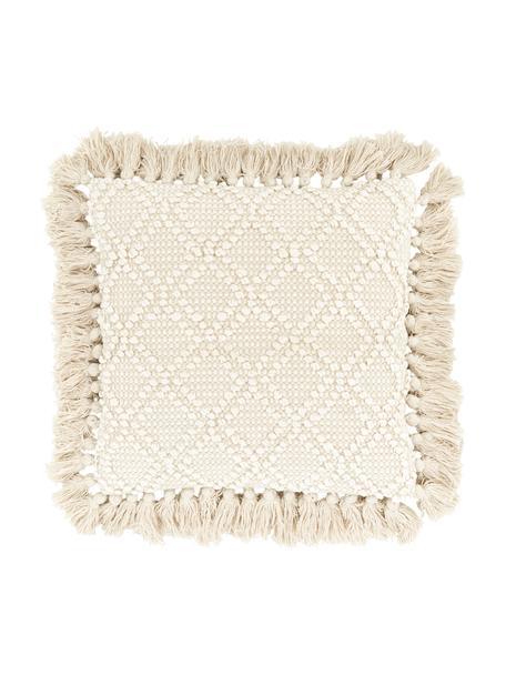 Federa arredo con ornamenti decorativi e frange Martina, 100% cotone, Beige, Larg. 45 x Lung. 45 cm