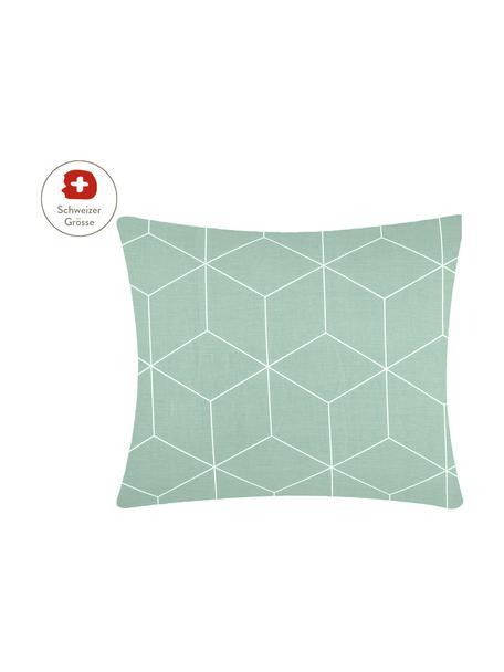 Baumwoll-Kissenbezug Lynn mit grafischem Muster, 65 x 65 cm, Webart: Renforcé Fadendichte 144 , Mint, Cremeweiss, 65 x 65 cm