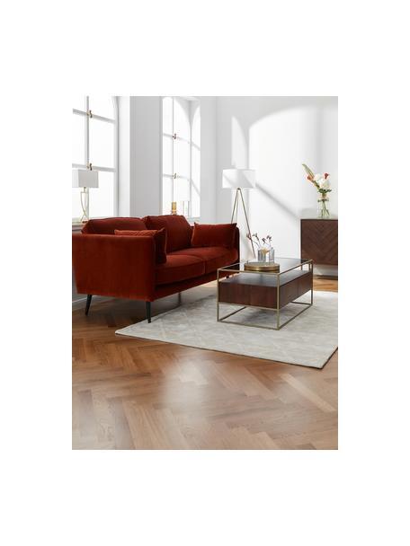 Sofa z aksamitu z drewnianymi nogami Paola (2-osobowa), Tapicerka: aksamit (poliester) 7000, Nogi: drewno świerkowe, lakiero, Aksamitny rdzawoczerwony, S 179 x G 95 cm