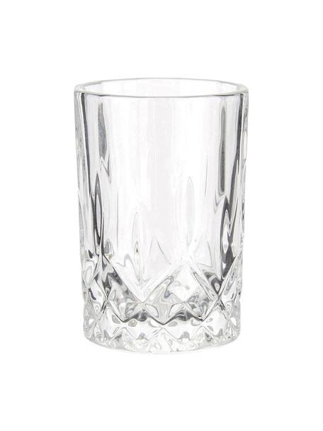 Vasos chupito con relieve Harvey, 4uds., Vidrio, Transparente, Ø 4 x Al 6 cm