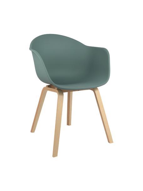 Krzesło z podłokietnikami z tworzywa sztucznego Claire, Nogi: drewno bukowe, Siedzisko: zielony Nogi: drewno bukowe, S 60 x G 54 cm