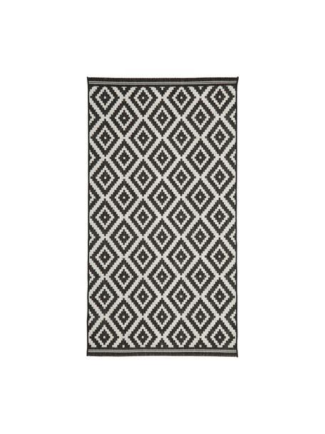 Tappeto nero/bianco da interno-esterno Miami, 86% polipropilene, 14% poliestere, Bianco crema, nero, Larg. 80 x Lung. 150 cm (taglia XS)