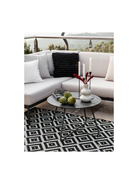 Tappeto fantasia color nero/bianco da interno-esterno Miami, 86% polipropilene, 14% poliestere, Bianco crema, nero, Larg. 80 x Lung. 150 cm (taglia XS)
