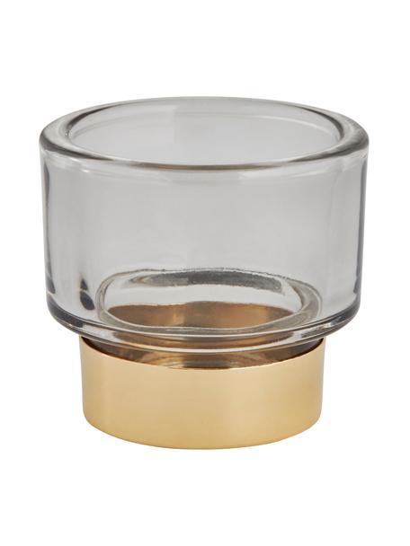 Ręcznie wykonany świecznik na podgrzewacze Miy, Szkło, Szary, transparentny, odcienie złotego, Ø 8 cm
