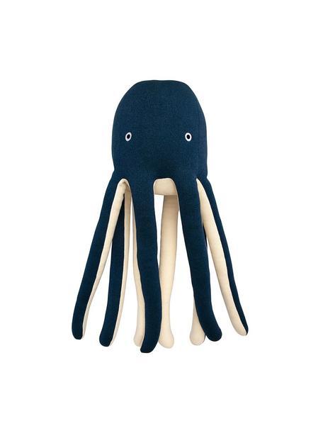 XL knuffeldier Octopus Cosmo van biokatoen, 100 % biokatoen, OCS-gecertificeerd, Donkerblauw, crèmekleurig, 33 x 81 cm