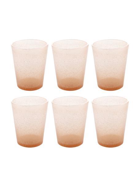 Bicchiere acqua in vetro soffiato Cancun 6 pz, Vetro soffiato, Salmone, Ø 9 x Alt. 10 cm