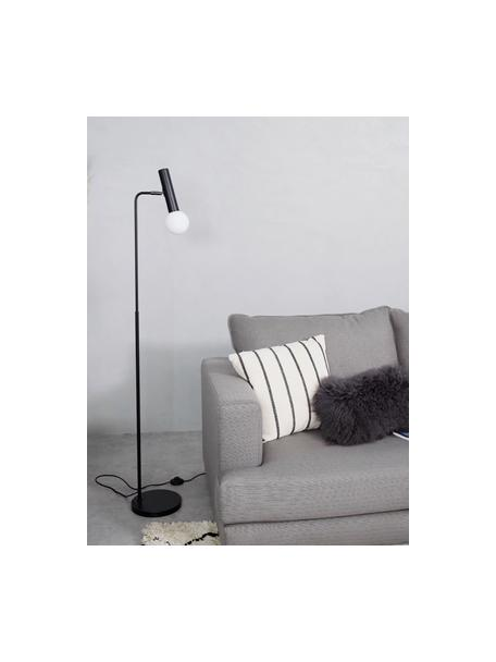 Lampada da lettura con paralume in vetro Wilson, Base della lampada: metallo verniciato a polv, Paralume: vetro, Nero, Ø 23 x Alt. 153 cm