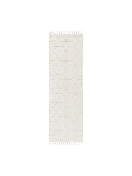 Alfombra de tejido plano de algodón con flecos Yena, Beige, dorado, An 80 x L 250 cm