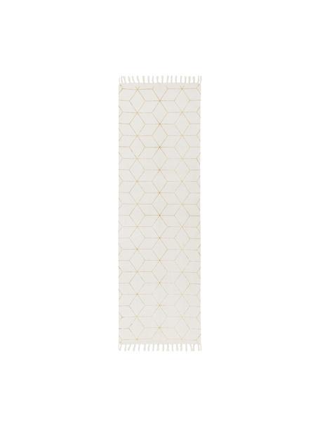 Tkany na płasko chodnik z bawełny Yena, Beżowy, złoty, S 80 x D 250 cm