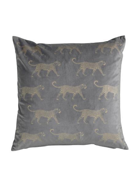 Poduszka z wypełnieniem Leopard, Tapicerka: 100% aksamit poliestrowy, Szary, odcienie złotego, S 45 x D 45 cm