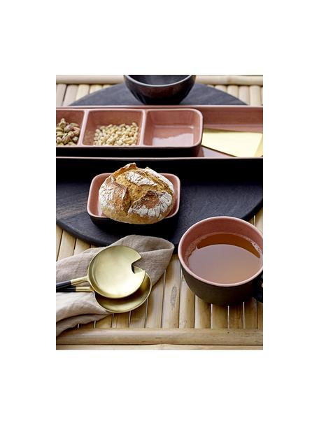 Saladebestekset Amine in goudkleur met zwarte handvatten, 2-delig, Gecoat edelstaal 18/10, Zwart, goudkleurig, L 27 cm