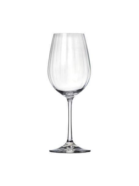 Kristall-Weißweingläser Romance mit Rillenrelief, 6 Stück, Kristallglas, Transparent, Ø 9 x H 22 cm