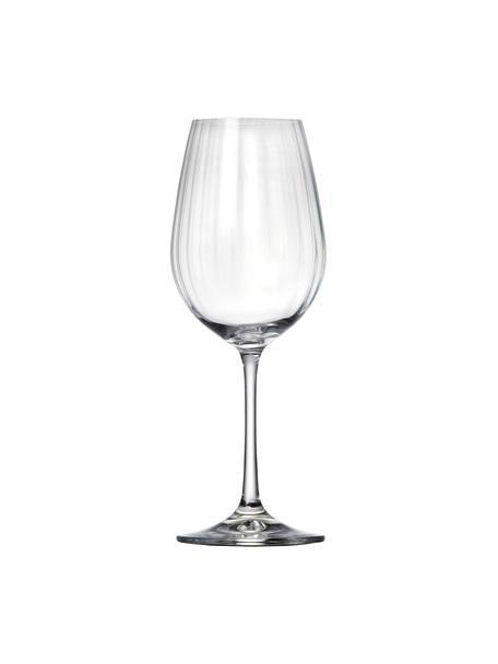 Kristallen rode wijnglazen Romance met groefreliëf, 6 stuks, Kristalglas, Transparant, Ø 9 x H 22 cm