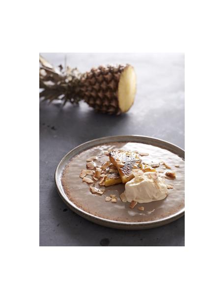 Handgemaakte dessertbord Nomimono in beige/grijs, 2 stuks, Keramiek, Grijs, greige, Ø 17 cm