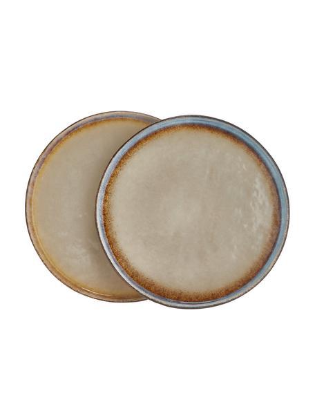 Handgemachte Dessertteller Nomimono in Beige/Grau, 2 Stück, Steingut, Grau, Greige, Ø 17 cm