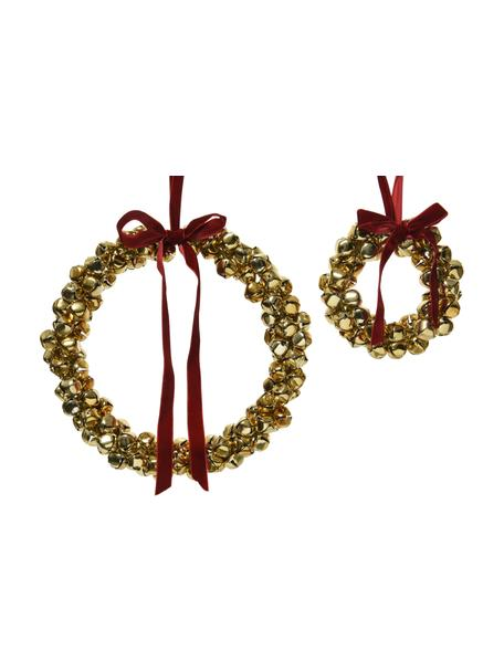 Coronas decorativas Kranz, 2uds., Metal, Dorado, rojo, Set de diferentes tamaños