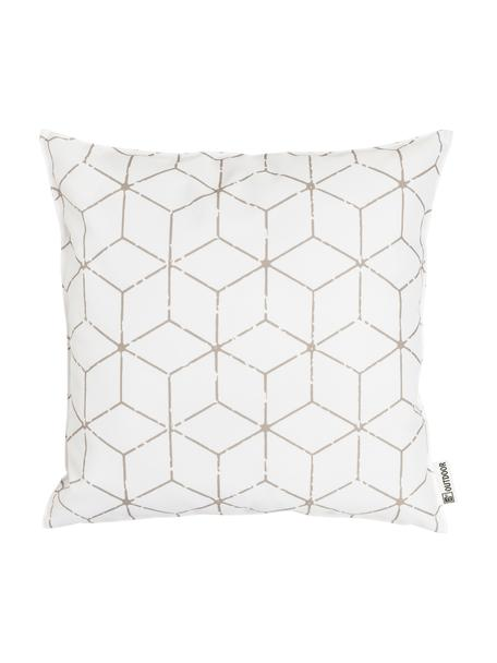 Outdoor-Kissen Cube mit grafischem Muster in Beige/Weiss, mit Inlett, 100% Polyester, Weiss, Beige, 47 x 47 cm