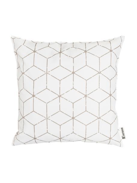 Outdoor kussen Cube met grafisch patroon in beige/wit, met vulling, 100% polyester, Wit, beige, 47 x 47 cm