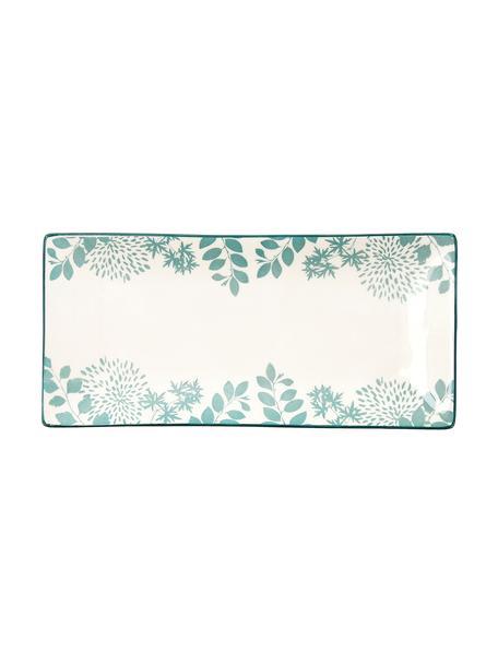 Bandeja de porcelana Botanic, Porcelana, Verde, blanco, L 26 x An 12 cm