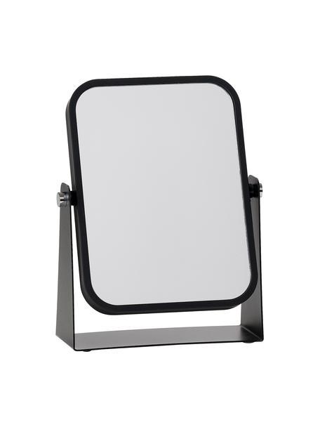 Eckiger Kosmetikspiegel Aurora mit Vergrößerung, Rahmen: Metall, beschichtet, Spiegelfläche: Spiegelglas, Schwarz, 15 x 21 cm