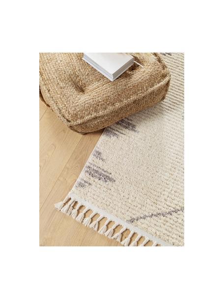 Hoogpolig vloerkleed Bosse met boho patroon en franjes, 100% polyester, Lichtbeige, grijs, B 80 x L 150 cm (maat XS)