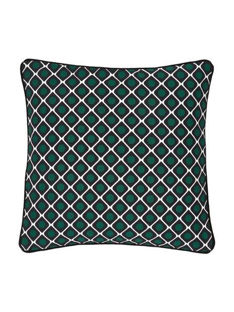Federa arredo fantasia con bordino nero Rivetti, 100% cotone, Nero, bianco crema, verde scuro, Larg. 45 x Lung. 45 cm