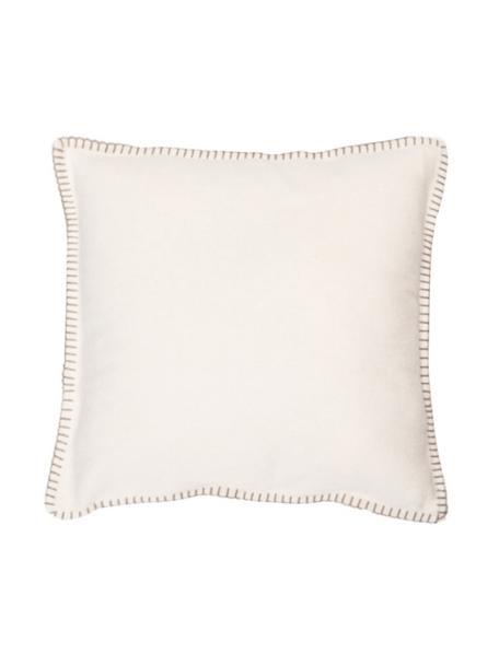 Federa arredo con cucitura Sylt, 85% cotone, 15% poliacrilico, Bianco crema, beige, Larg. 40 x Lung. 40 cm