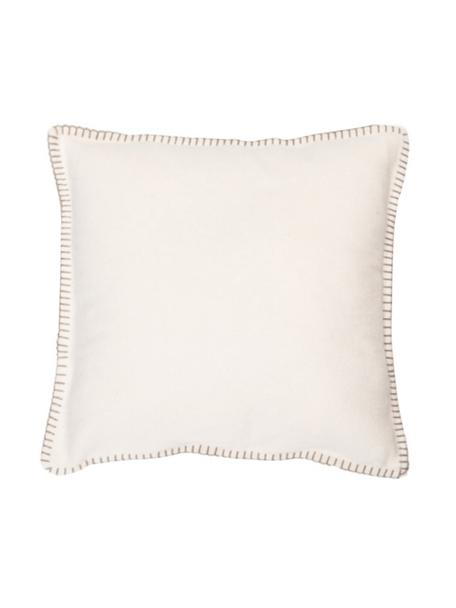 Funda de cojín de tela polar Sylt, 85%algodón, 15%poliacrílico, Blanco crema, beige, An 40 x L 40 cm