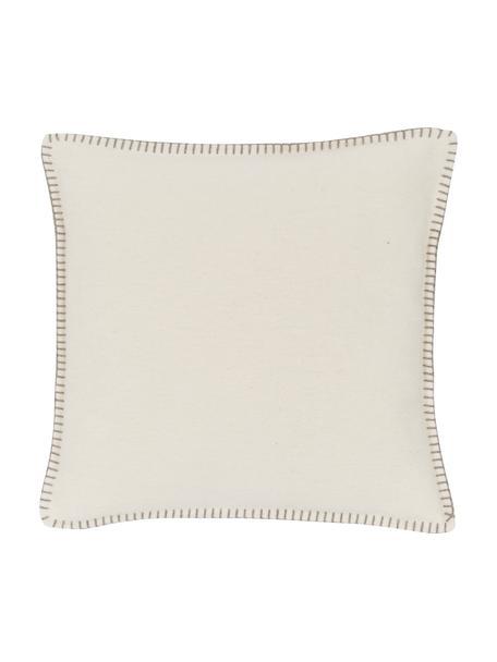 Zachte fleece kussenhoes Sylt met stiksels, 85% katoen, 15% polyacryl, Crèmewit, beige, 40 x 40 cm