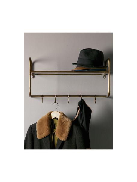Wieszak ścienny z 5 hakami i półką Hatstand, Złoty postarzany, S 63 x W 23 cm