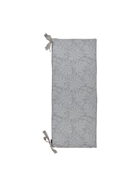 Bankauflage Palm mit Palmenprint, Bezug: 50% Baumwolle, 45% Polyes, Grau, 48 x 140 cm