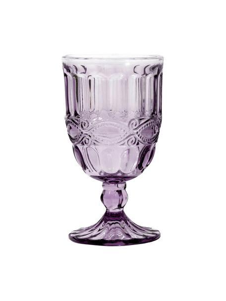 Bicchiere vino viola con rilievo Solange 6 pz, Vetro tinto, Viola trasparente, Ø 8 x Alt. 15 cm