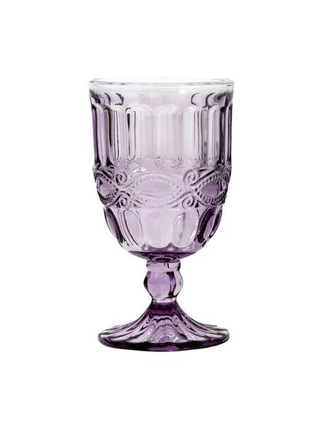 Copas de vino con relieve Solange, 6uds., Vidrio, teñido, Transparente, lila, Ø 8 x Al 15 cm