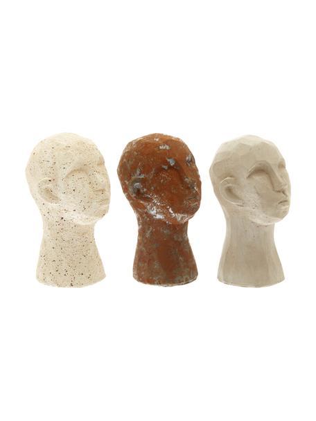 Set 3 oggetti decorativi Figure Head, Cemento, Bianco, marrone, grigio, Ø 9 x Alt. 15 cm